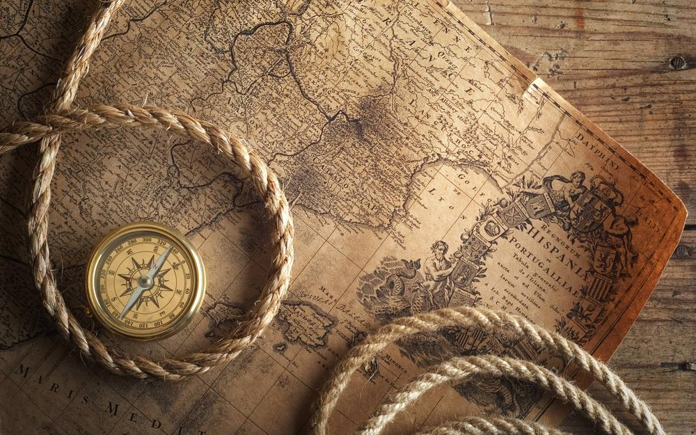 Map, rope, compass, table