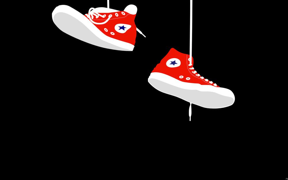 Hanging, red sneakers, laces, background