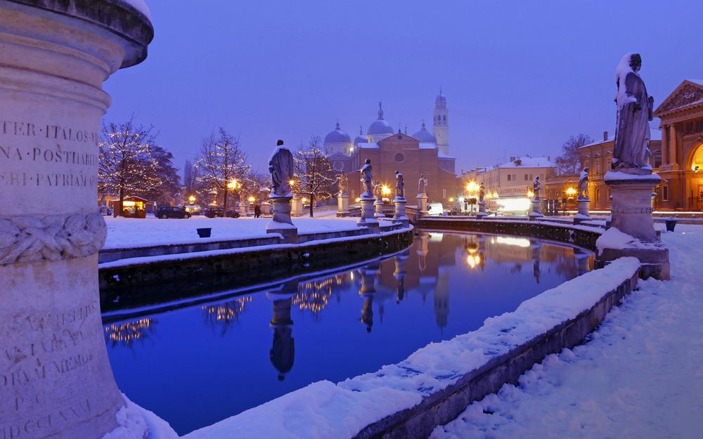 Countries architecture padua italy winter snow river evening wallpaper