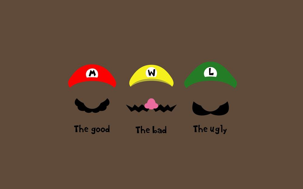 The ugly, the good, caps, bad, good, moustache, minimalism