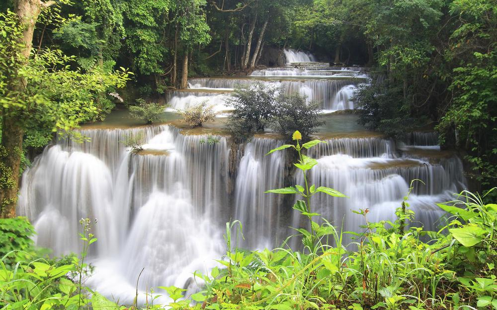 Waterfall, river, stream, trees, cascade, thailand, thailand, jungle, forest, stones