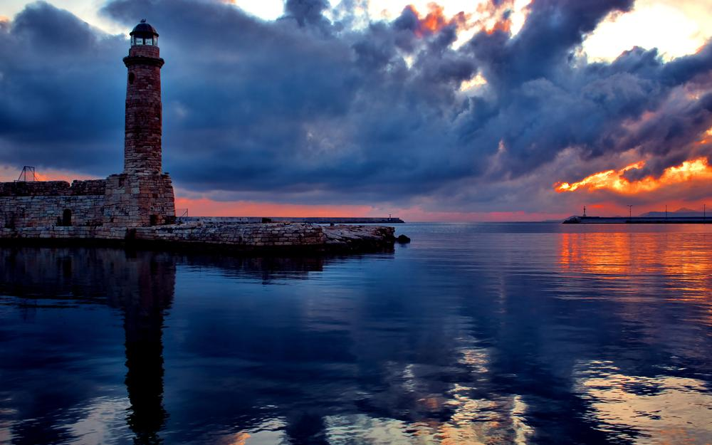 Nature architecture sea reflection sky clouds wallpaper