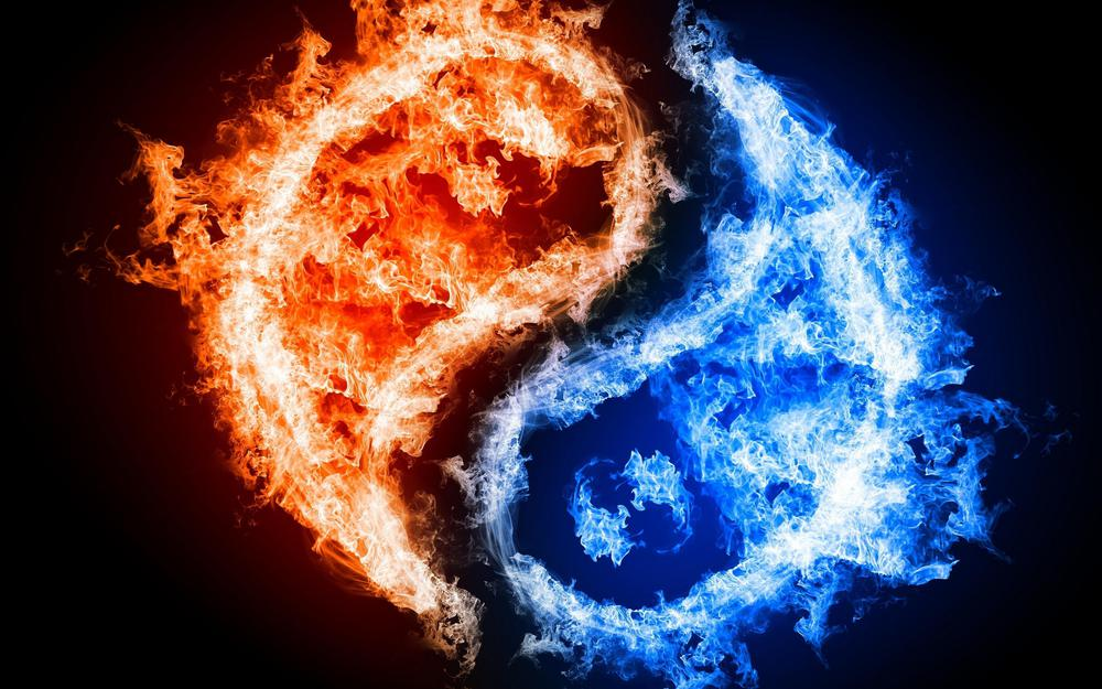 Good and evil fire wallpaper