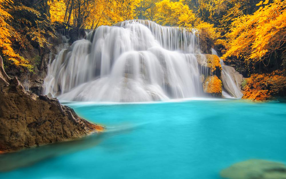 Trees, blue water, autumn, waterfalls, river, forest, rivers, trees, nature, waterfall, autumn, forest, nature, blue water