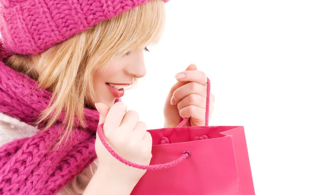 Packages, shopping, girl, pink, cap, blonde, shopping