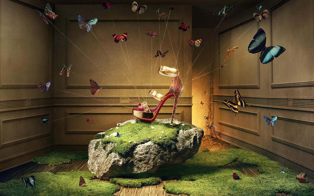 Butterflies with shoes