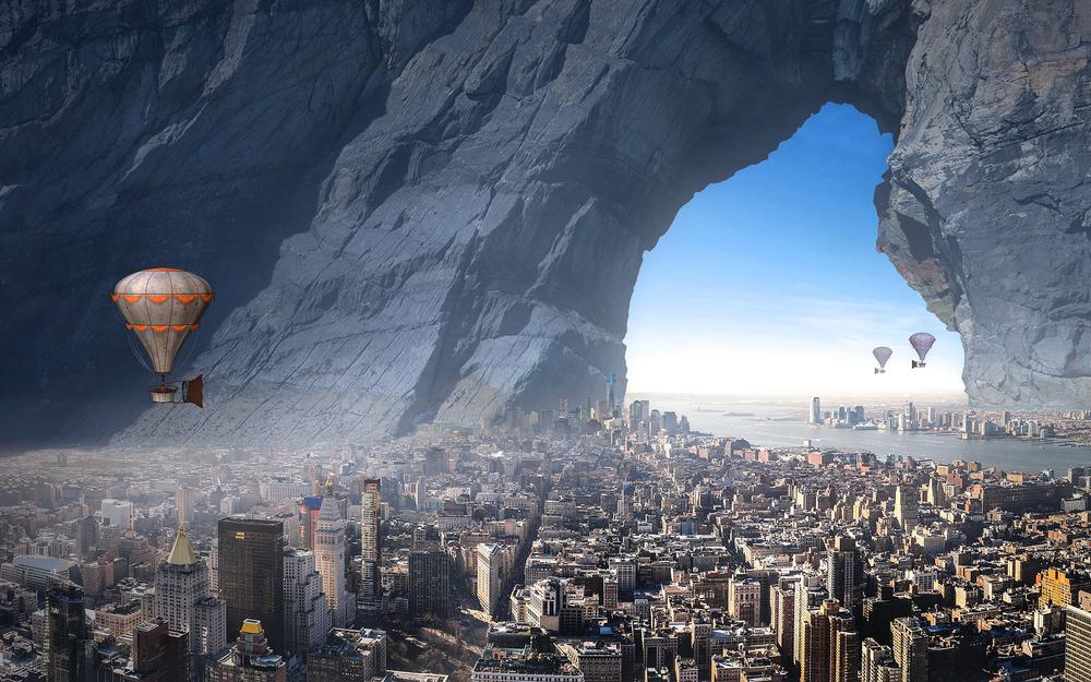Houses, rocks, arch, hole, stone, flying, height, settlement, view, art, sea, coastal, review, fantasy, rendering, flying ship, city, futuristics, aerostat, fog, balloon, chimka, skyscrapers, sky , travel, atmosphere, fantasy, from height, buildings, aerial view, megapolis