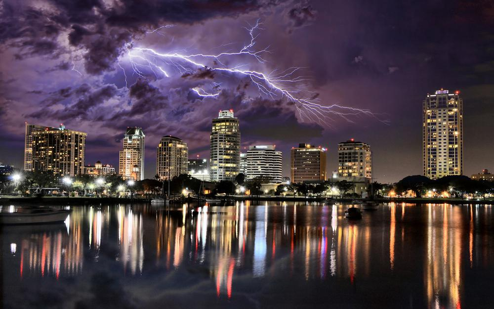 City water architecture lightning