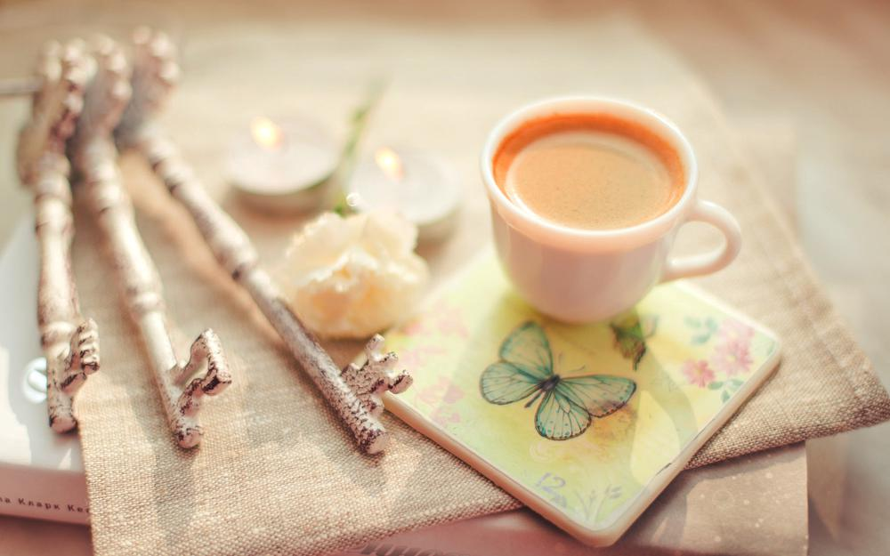 Cup, book, candles, flower, cappuccino, coffee, keys, stand