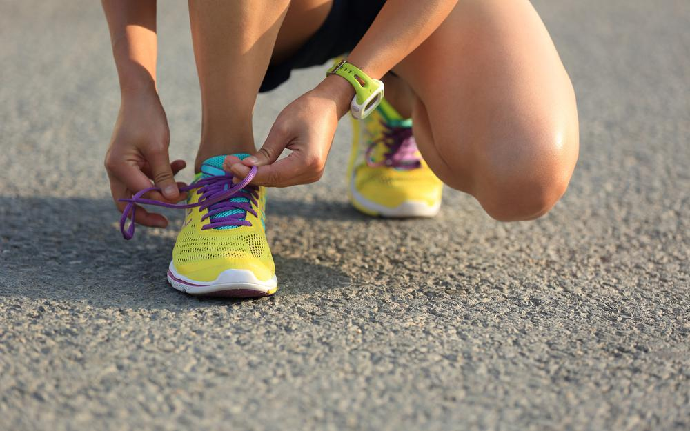Woman, laces, running, shoes