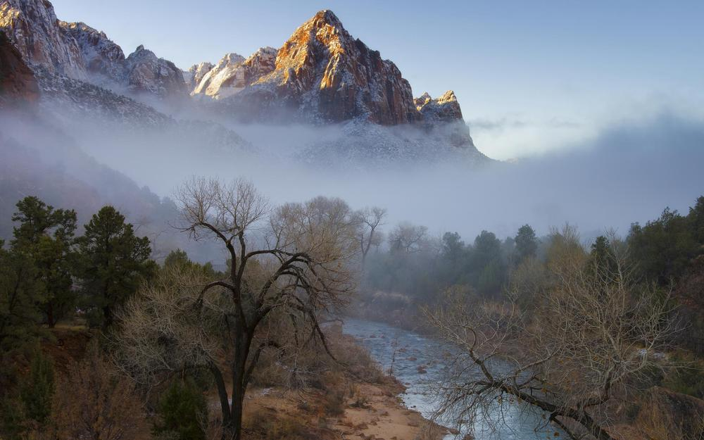 Forest, mountains, trees, fog, winter, river
