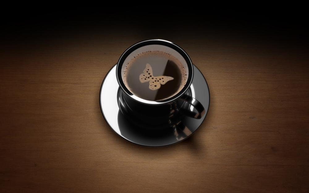 Cup of coffee with butterfly