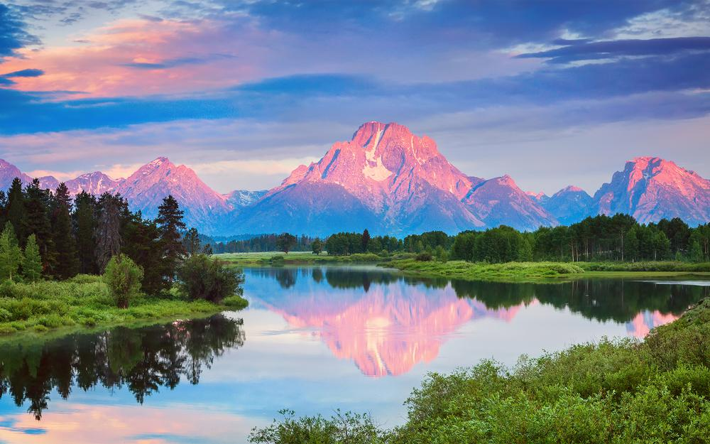 Usa, national park, reflections, july, grand titon, summer, oxbow bend, wyoming, morning, forest, water, clouds, mountains