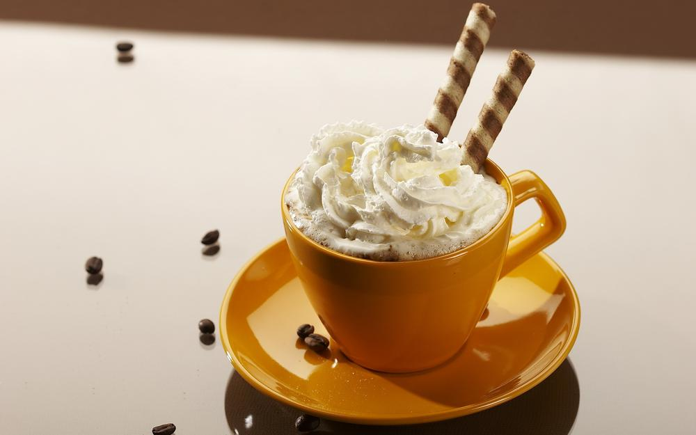Coffee with cream and tubes