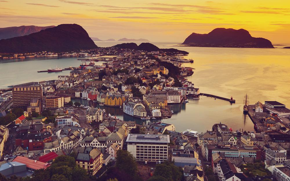 Ocean, view, city, norway, sunset, houses