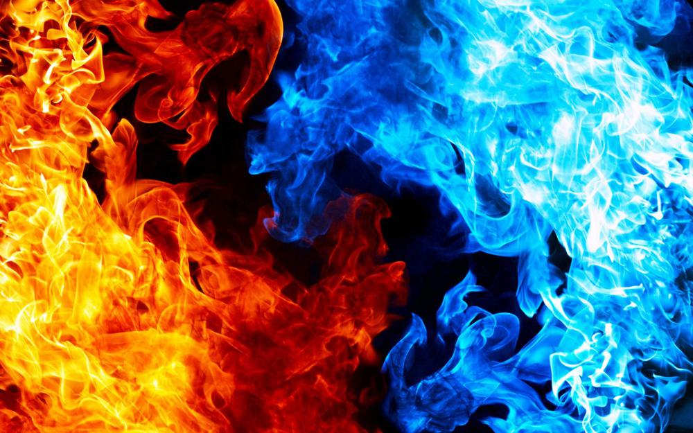 Red, blue, fire