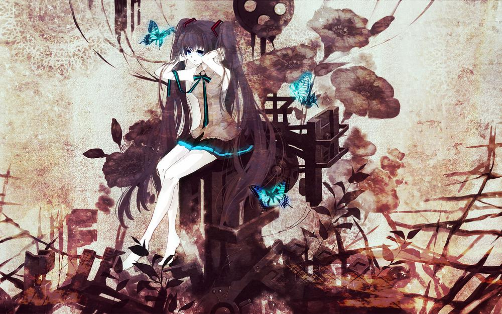 Hatsune miku,tagme,butterfly,ribbons,vocaloid