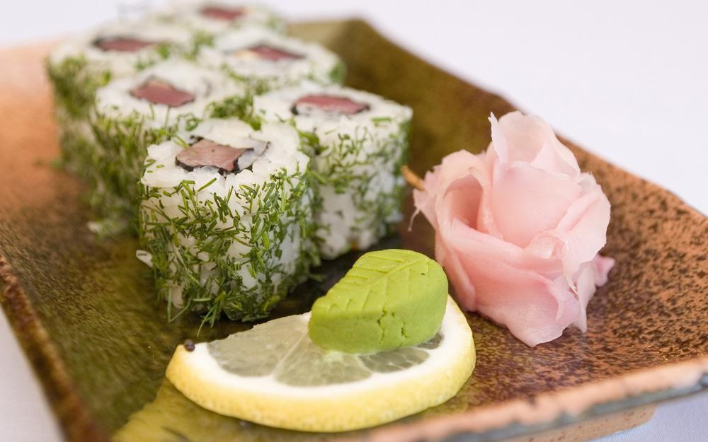 Sushi with greens hd wallpaper