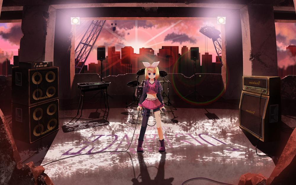 Shiramori yuse,vocaloid,boots,skirt,drums,kagamine rin,building,microphone,city,instrument