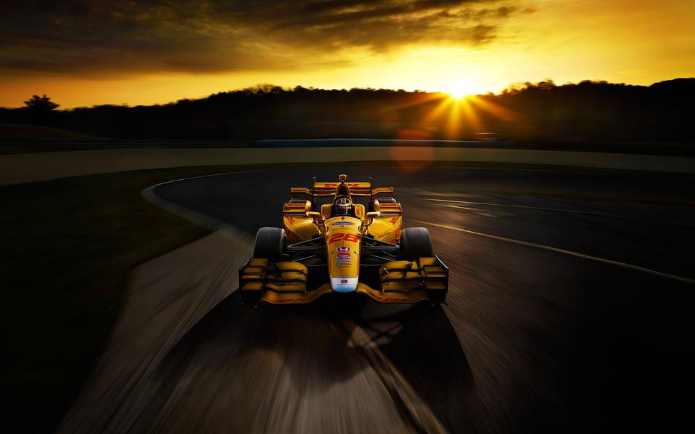 Race, sunset, speed, track, yellow, bolide