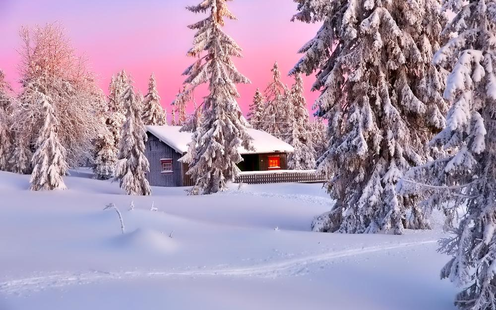 Trees, sky, nature, house, landscape, mountains, snow, winter