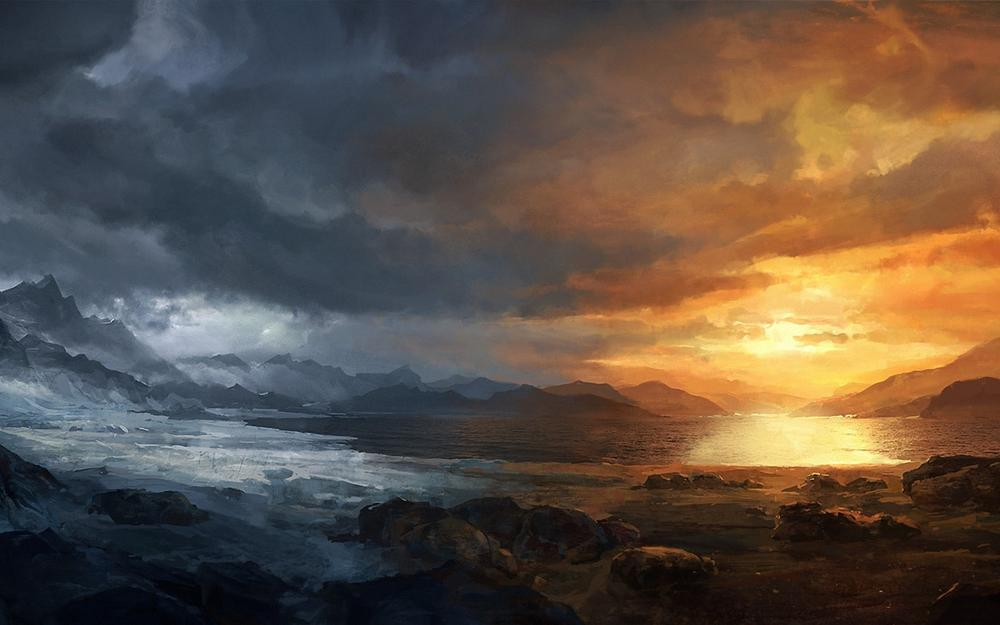 Cold, snow, clouds, art, seasons, lake, sunset, stones, mountains