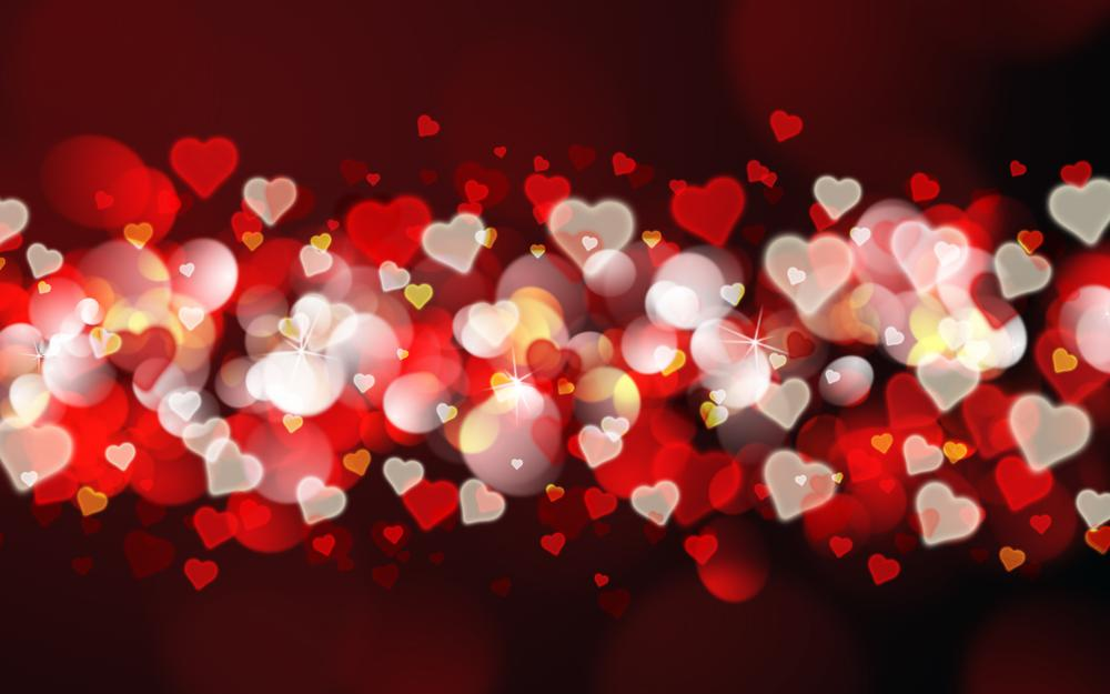 Hearts, red, background, bokeh, valentine's day