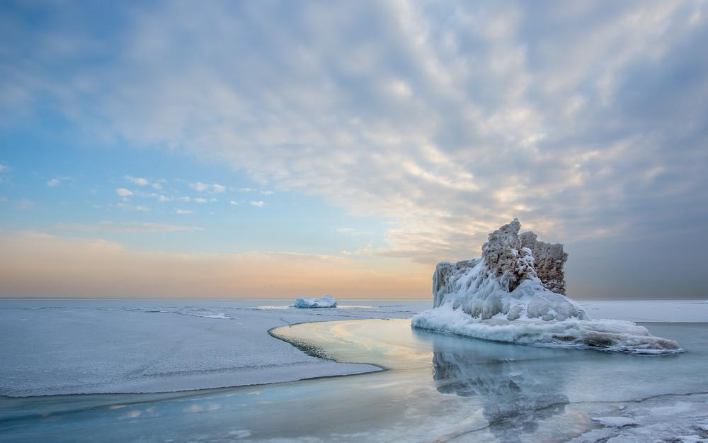 Ice, water, iceberg, cold, snow, lake, reflection, winter, sky, clouds, landscape